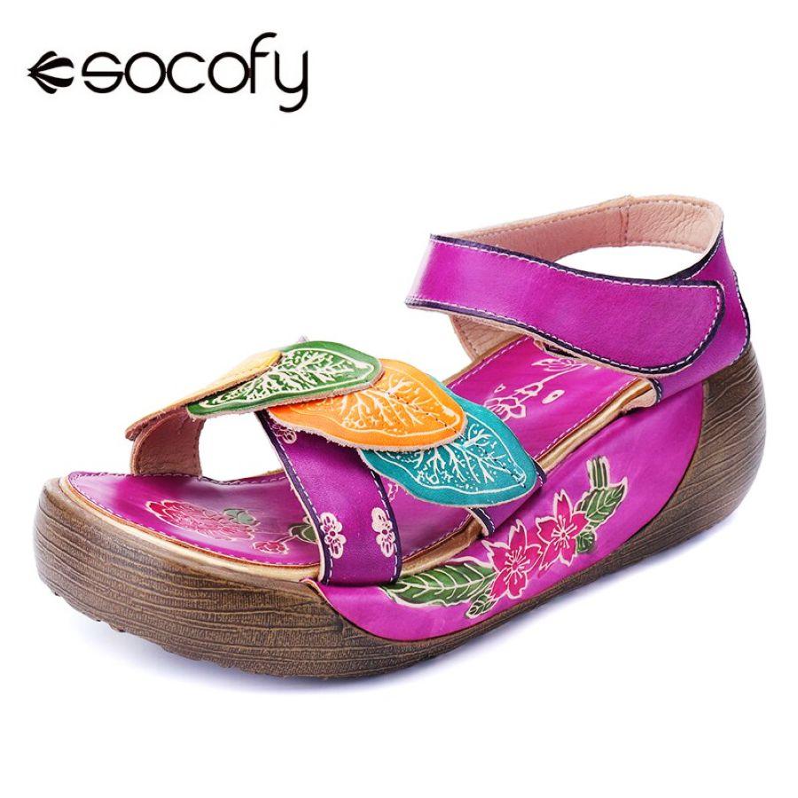 Socofy sandalias de mujer bohemias de cuero genuino zap
