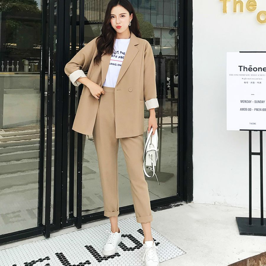 Bgteever Casual Solid Women Pant Suits Notched Collar Blazer Jacket