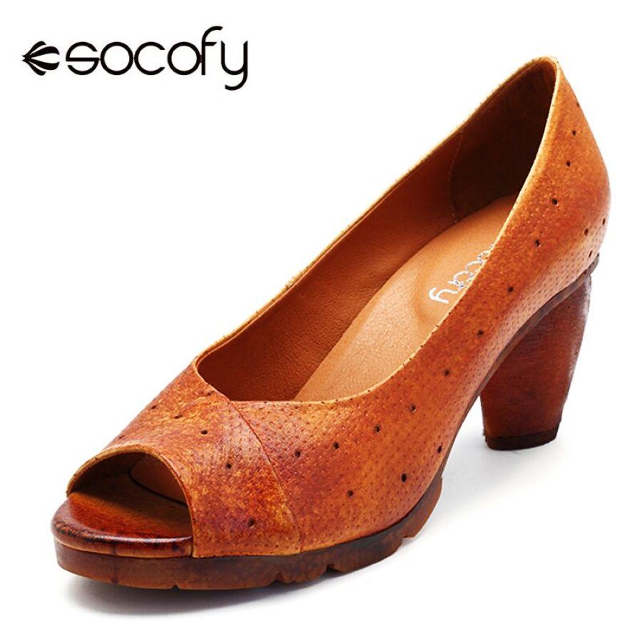Socofy tacones de bloque de cuero genuino zapatos de mu