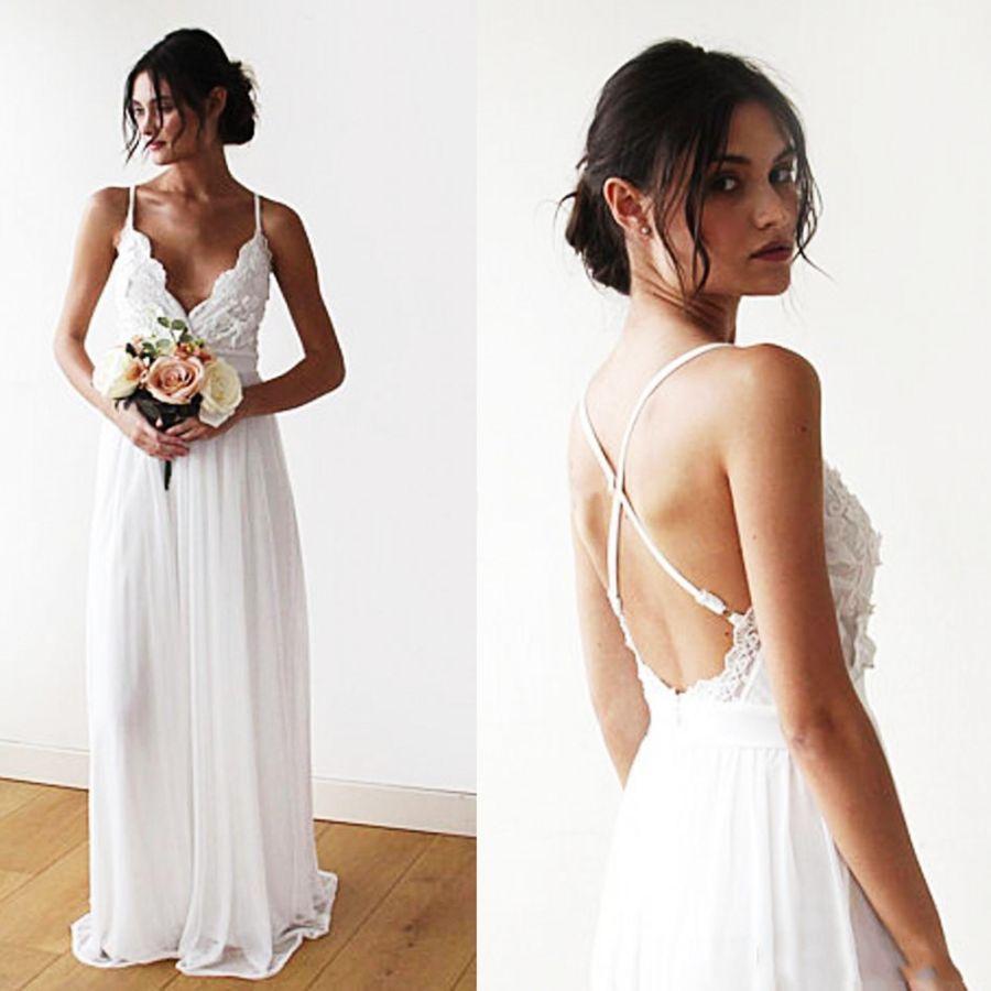 Informal Wedding Dreess Beach Bride Dress Chiffon Lace Appliques Backless