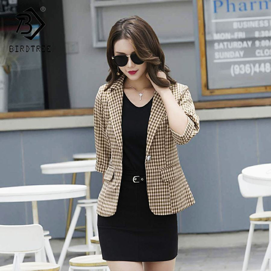 2019 New Womens Office Lady Blazers Plaid Turn-Down Collar Single