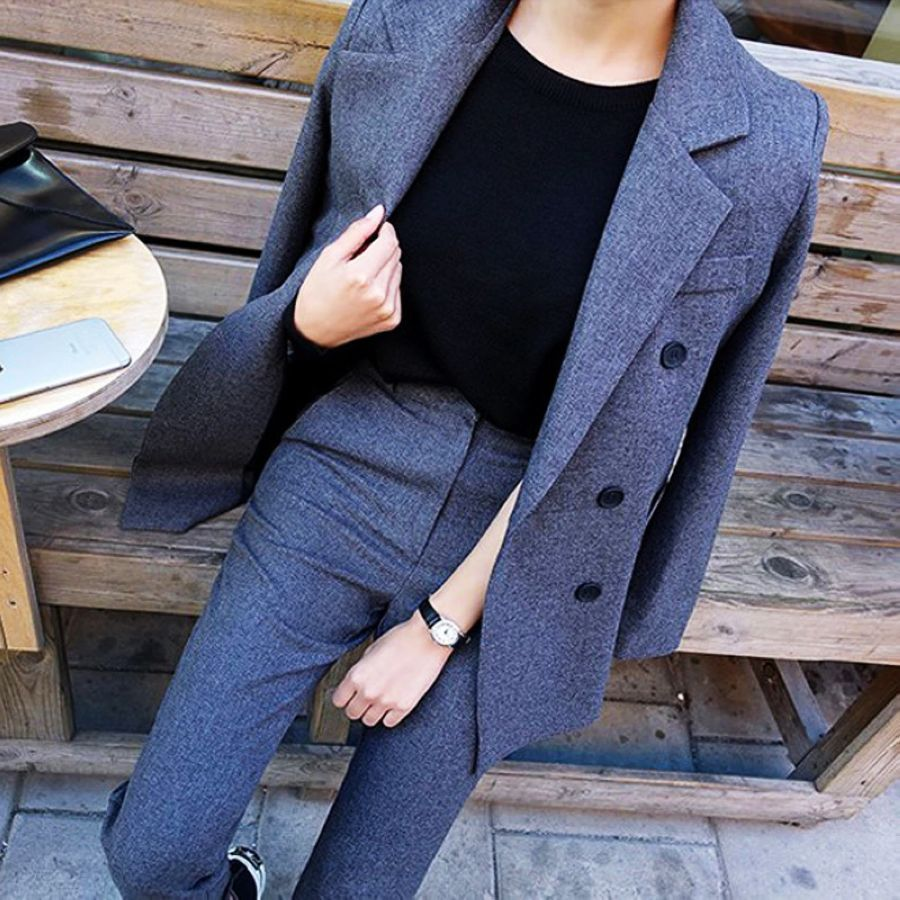 Fashion Business Pant Suits Uniform Formal Double Breasted Jacket And