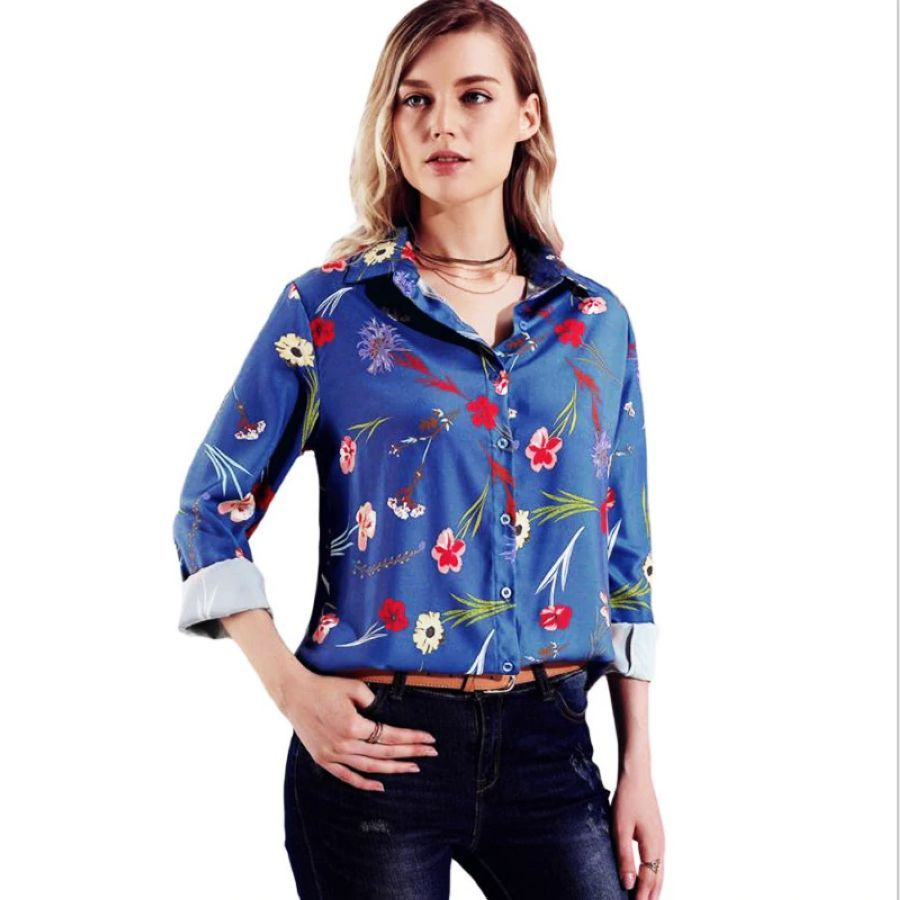 2019 New Sping Autumn Female Tops Stylish Long Sleeve Floral