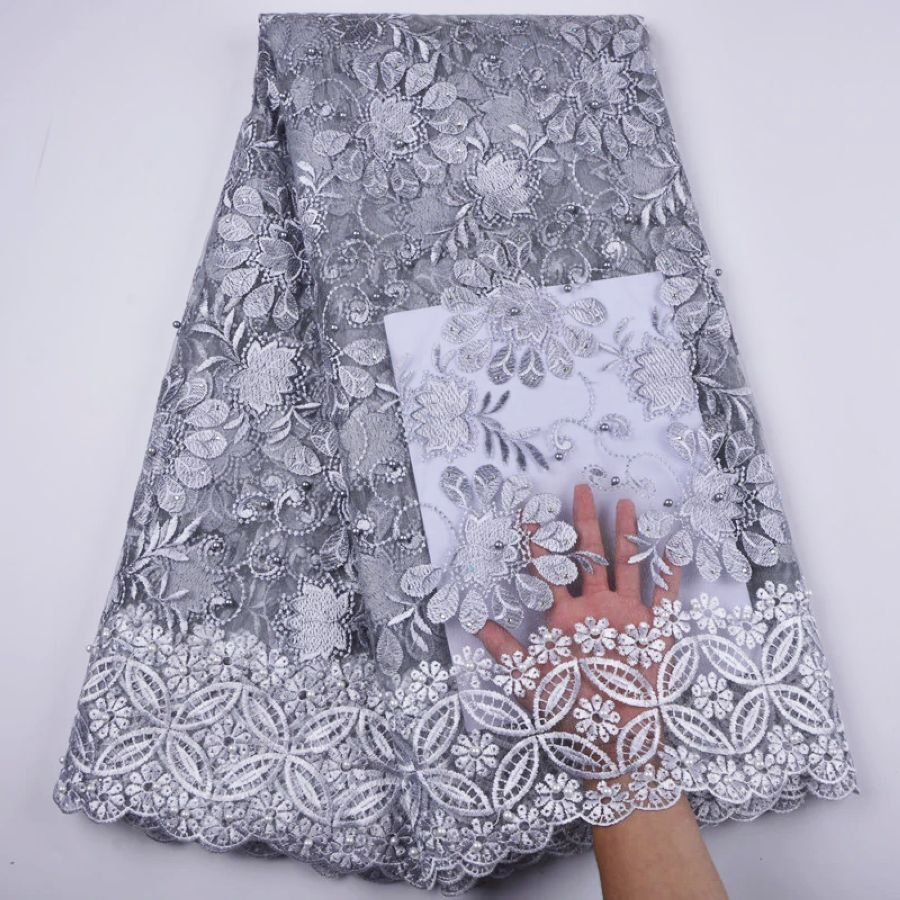 High Quality African Lace Fabric Pure White French Net Embroidery