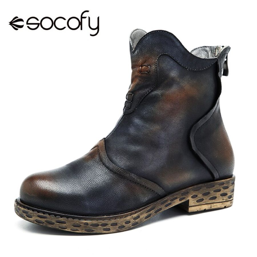 Shoes Socofy Vintage Women Boots Handmade Splicing Genuine Leather Ankle