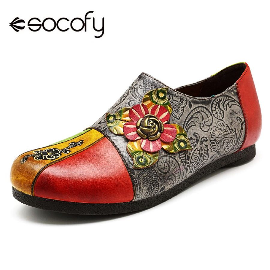 Shoes Socofy Big Size Vintage Bohemian Genuine Leather Loafers Sneakers