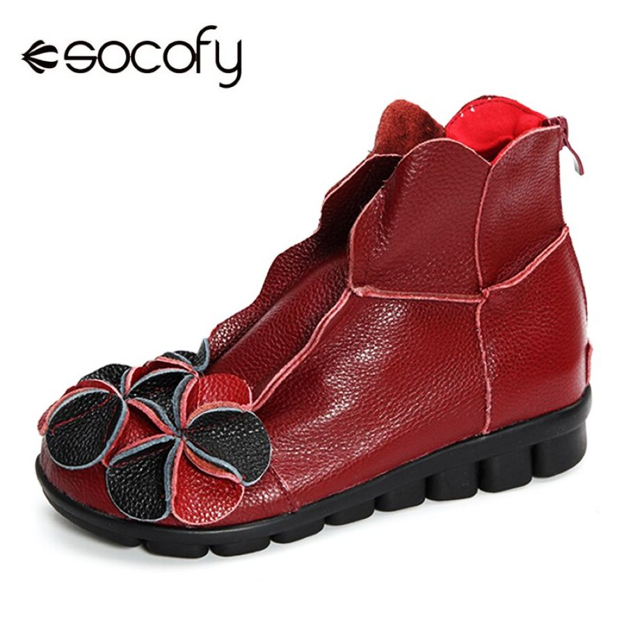 Shoes Socofy Vintage Genuine Leather Winter Boots Women Shoes Woman
