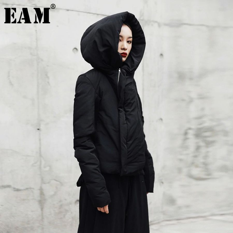 2019 New Spring Hooded Long Sleeve Black Loose Keep Warm