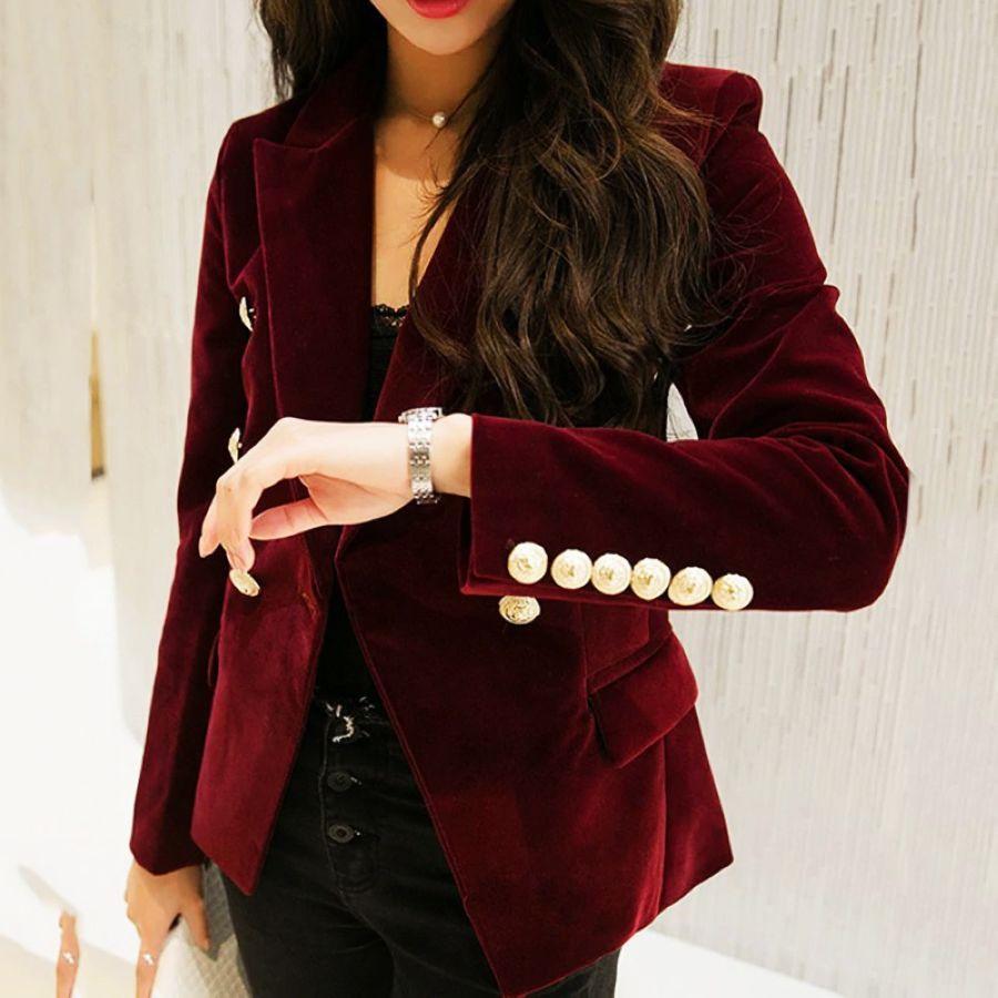 2019 Autumn Velvet Blazer Ol Formal Work Small Suit Jacket