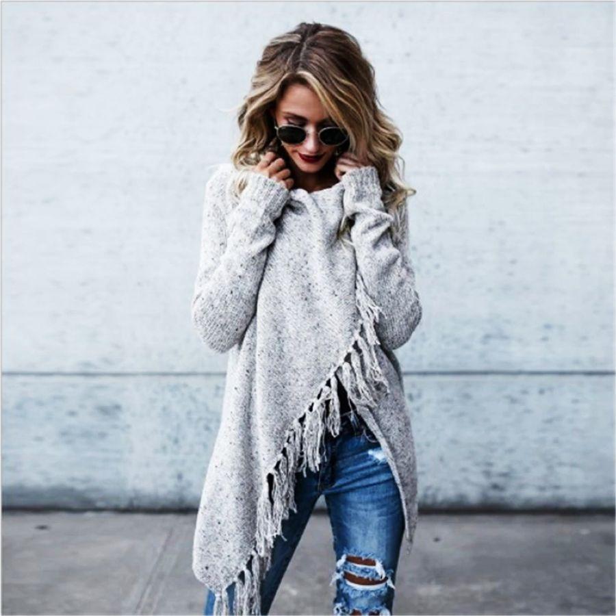 2019 Bohemian Winter Sweater Oversize Tassel Cardigan Long Sleeve Multicolor