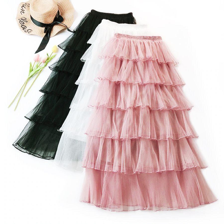 Wasteheart Autumn Women Fashion Pink White Black Skirt