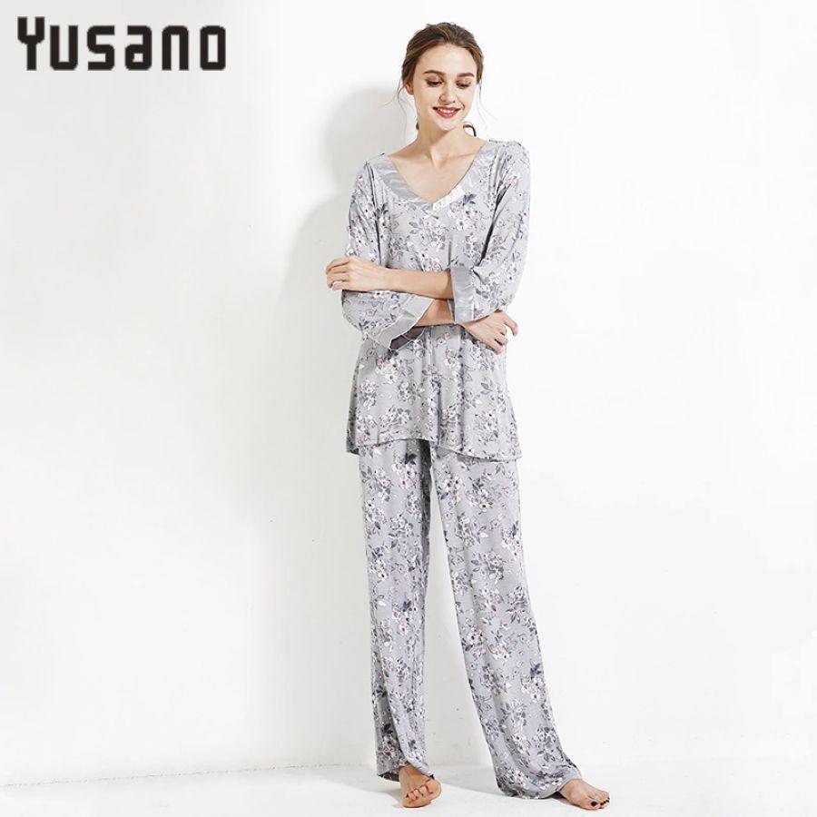 Pajama Sets Women Autumn Winter Long Sleeve V-Neck Sleepwear Suit