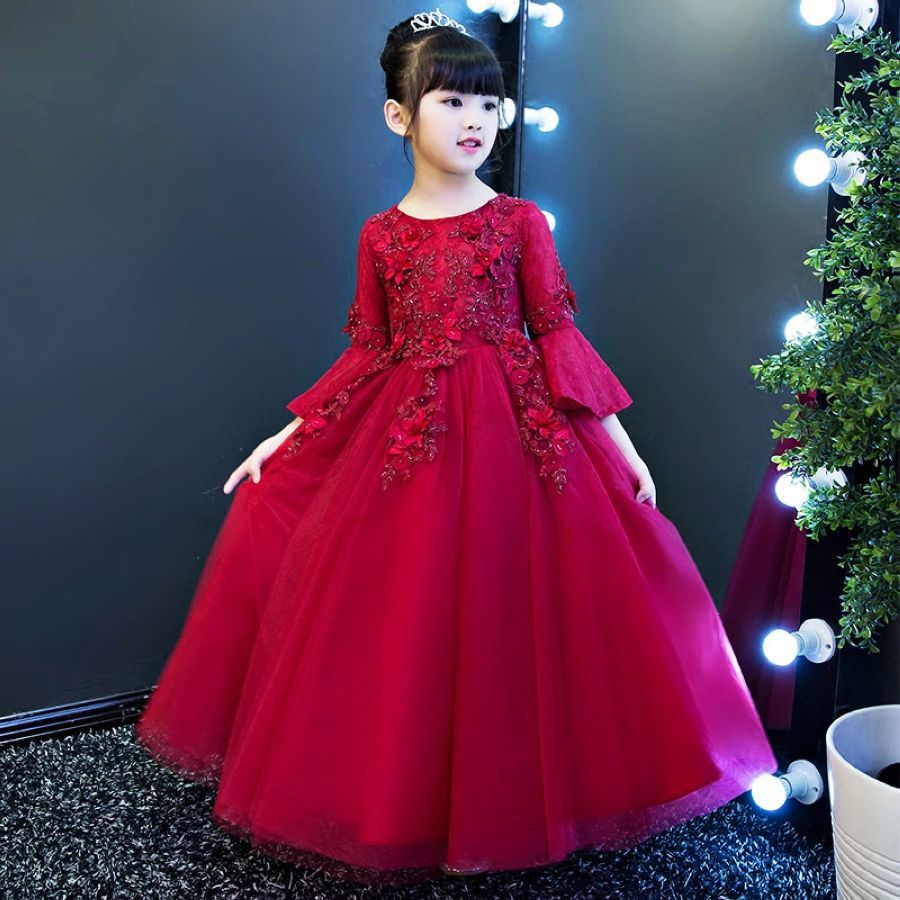 Glitz Autumn Long Formal Flower Girl Dresses For Weddings Kids