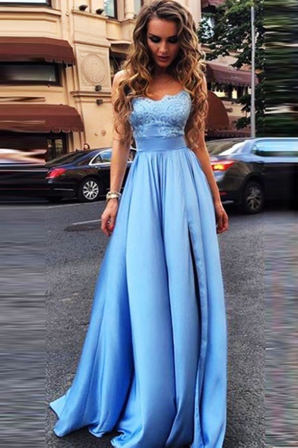 Sky Blue Prom Dresses Strapless Sweetheart Elastic Satin High Split
