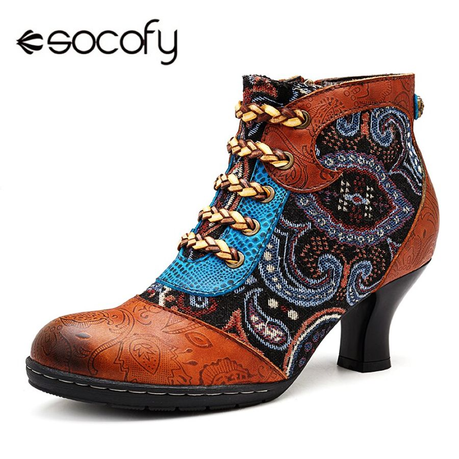 Shoes Socofy Retro Splicing Genuine Leather Winter Boots Women Shoes