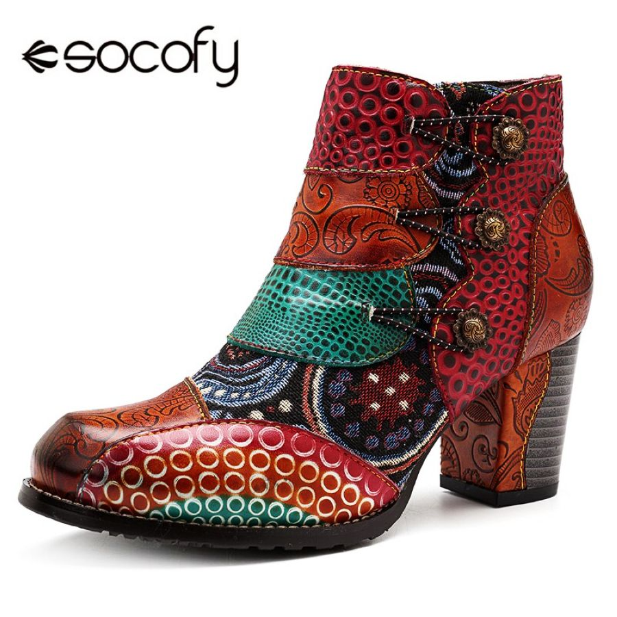 Socofy Vintage Splicing Printed Ankle Boots For Women Shoes Woman