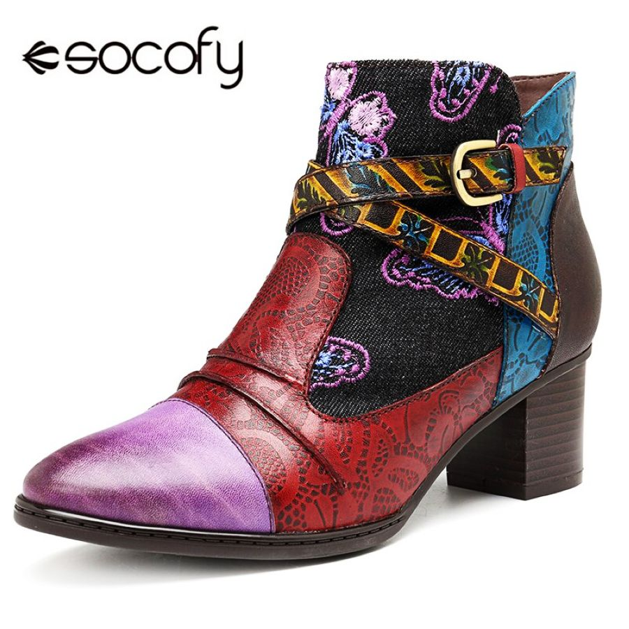 Shoes Socofy Vintage Western Cowboy Winter Boots Women Shoes Woman