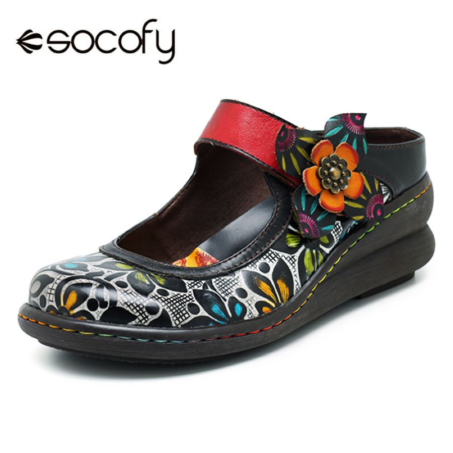 Shoes Socofy Vintage Printed Flat Shoes Women Flats Genuine Leather