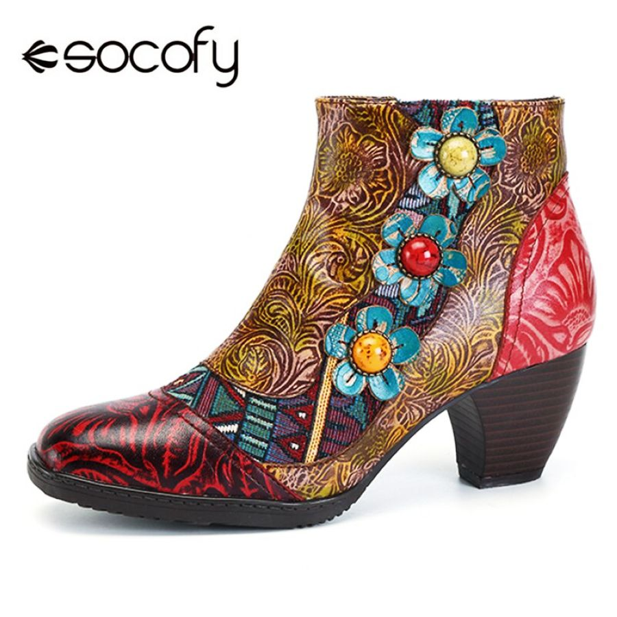 Shoes Socofy Vintage Bohemian Printed Winter Boots Women Shoes Woman