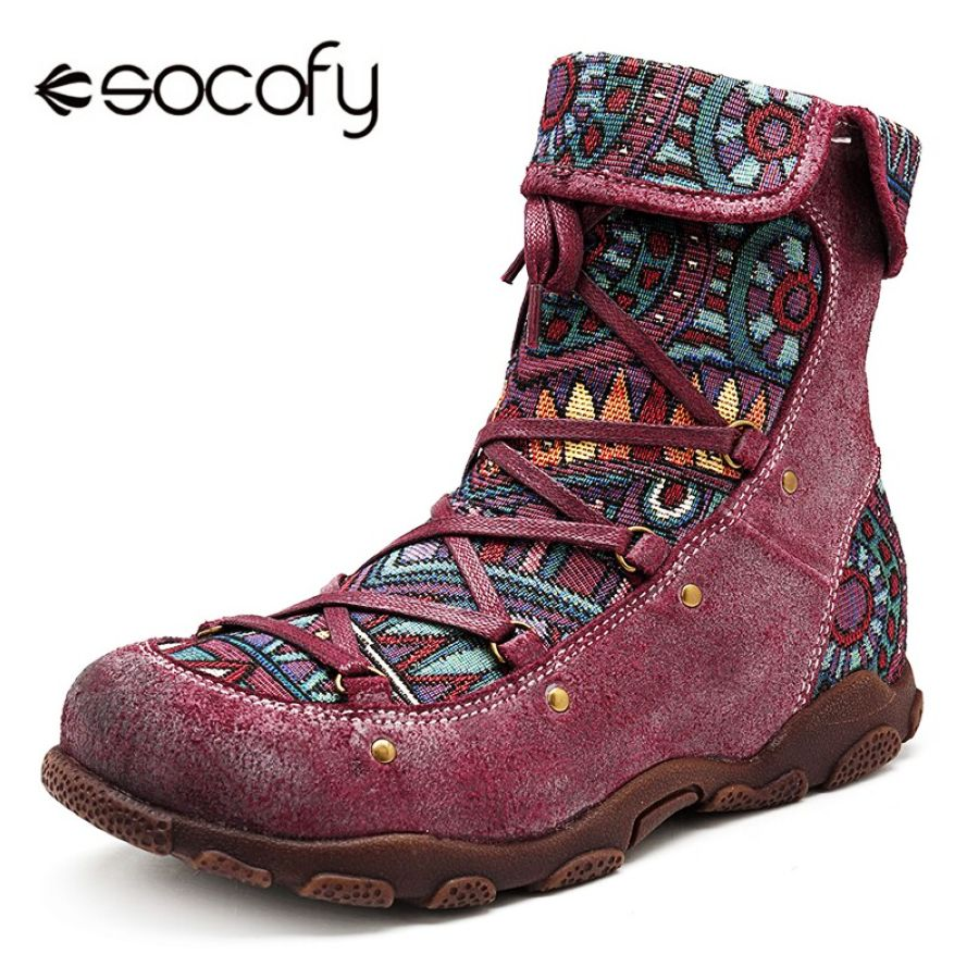 Shoes Socofy Printed Genuine Leather Winter Boots Women Shoes Vintage