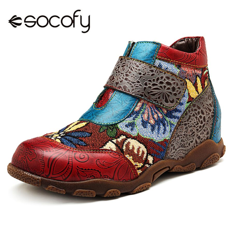 Socofy Genuine Leather Ankle Boots For Women Shoes Woma