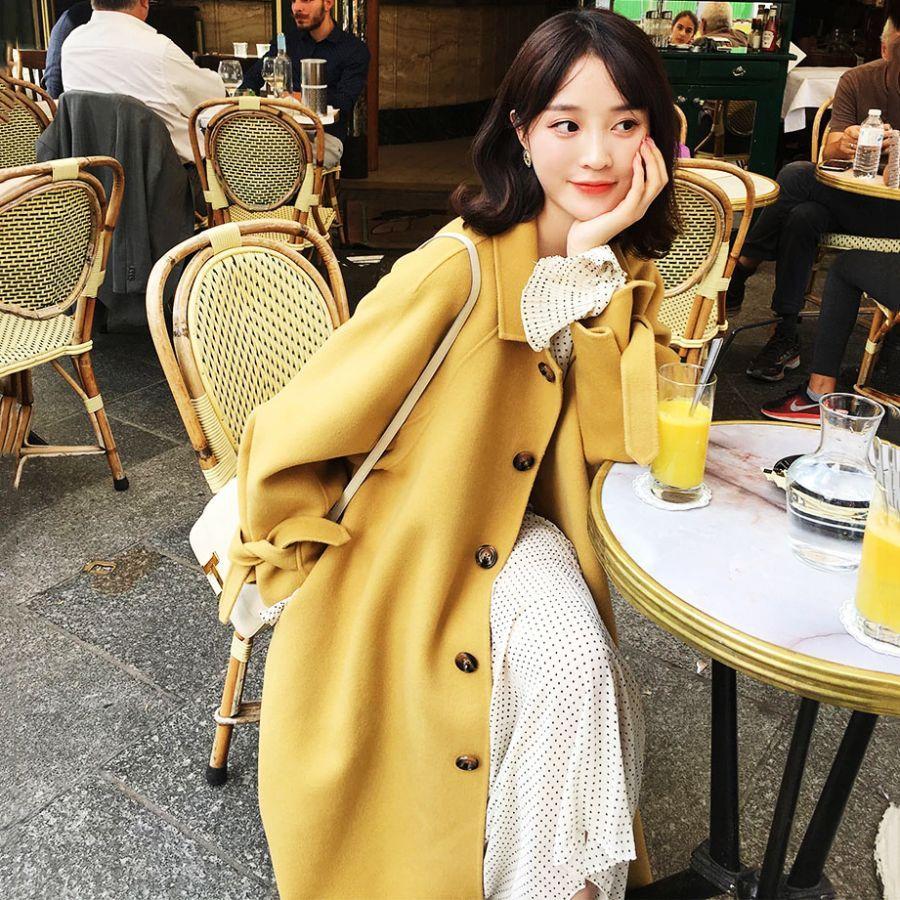 2019 Autumn Winter Fashion Hepburn Style Woolen Coat Long Style