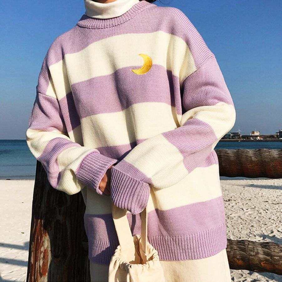 Harajuku Fashion Striped Knitted Women Sweater Cute Moon Embroidery Student