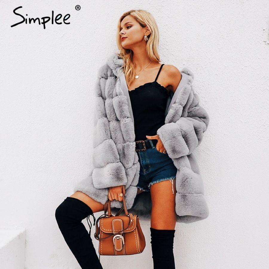 Simplee vintage mullido hoodie faux fur abrigo mujer in