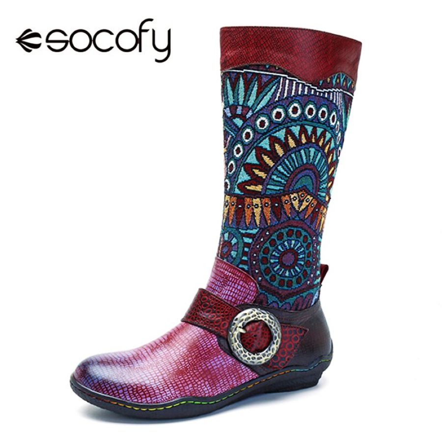 Shoes Socofy Retro Bohemian Mid-Calf Boots Women Shoes Genuine Leather