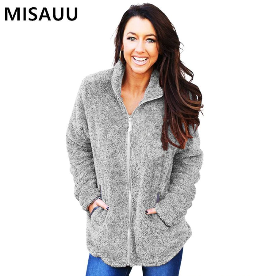 Misauu Autumn Soft Fleece Jacket Women Tops Turn-Down Collar Zipper