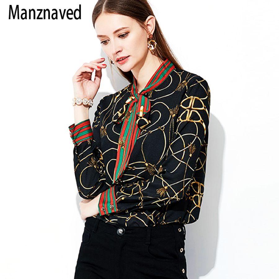 2019 New Fashion Chiffon Shirt Women Long-Sleeved Korean Printing Bow