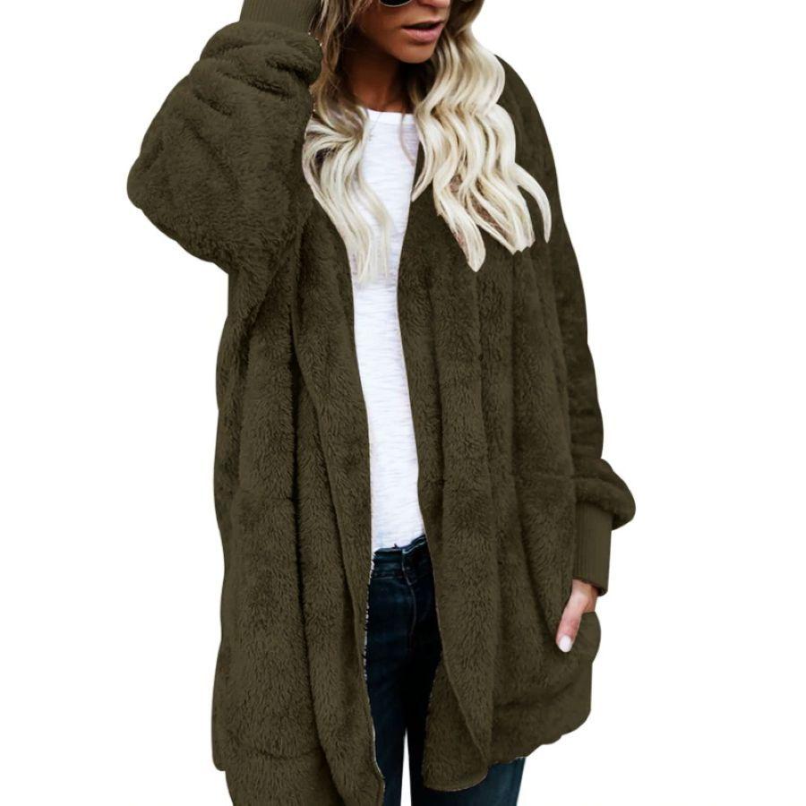 Jacket Women Fashion Open Stitch Winter Hooded Coat Female Long