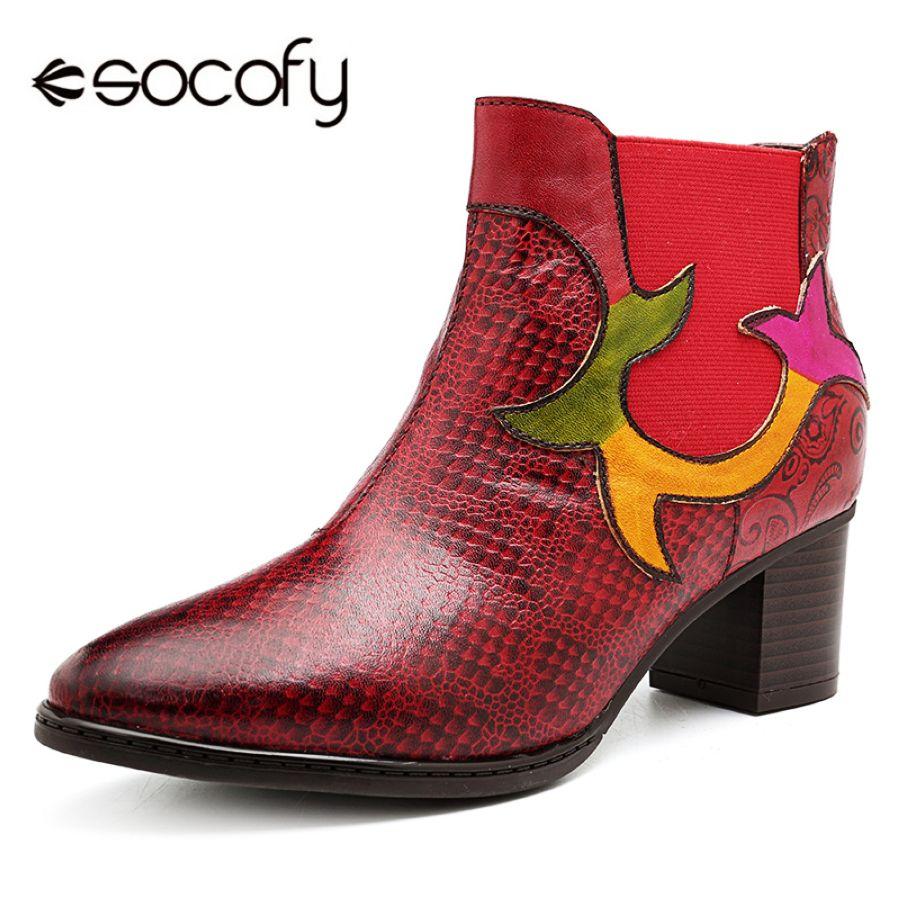 Socofy punta vaquera botas de invierno botas mujeres za
