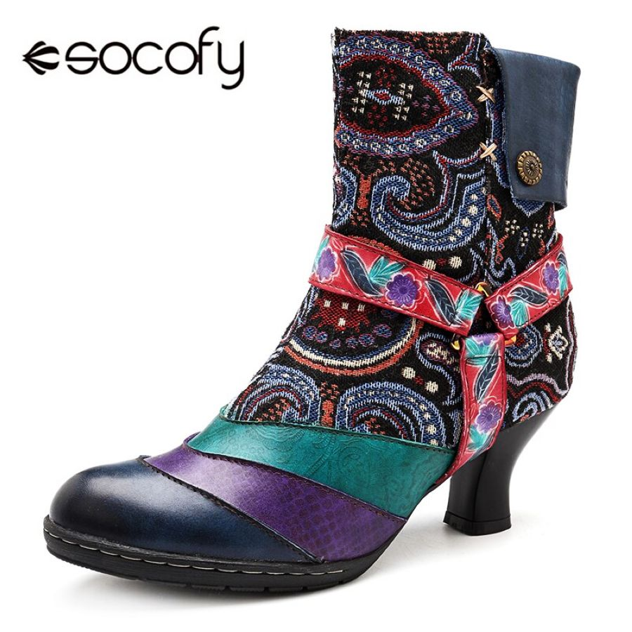 Shoes Socofy Printed Floral Vintage Winter Boots Women Shoes Woman
