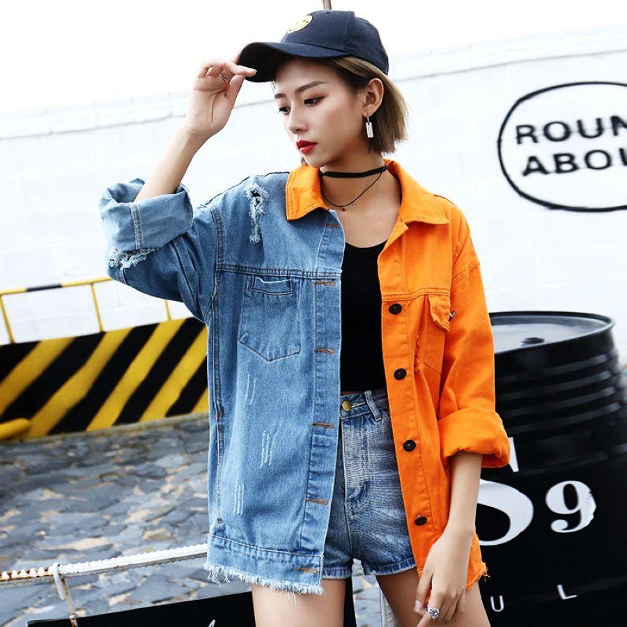High Street Spring Cowboy Jacket Wind Mosaic Orange Chao Brand