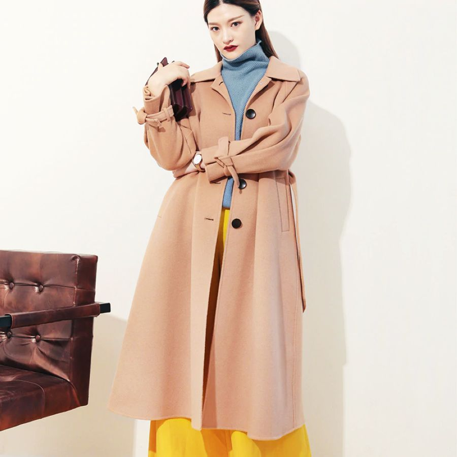 Womens Cashmere Coat Double-Sided High-End Doll Collar Long Loose Woolen