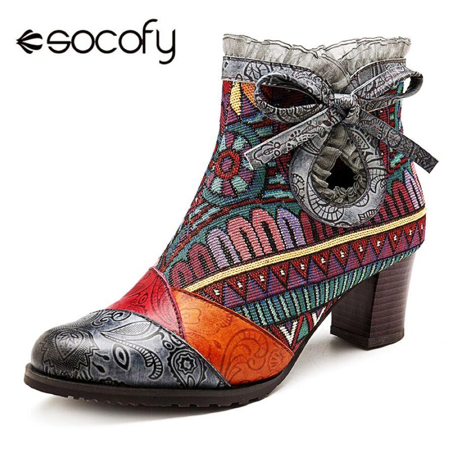 Shoes Socofy Bohemian Bowknot Lace Winter Boots Women Shoes Woman