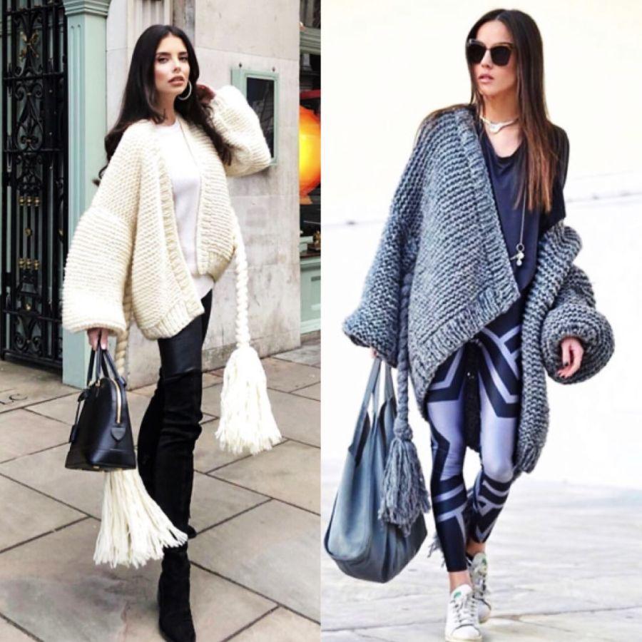 Oumeifeng Pure Handmade Large Tassel Belt Modeling Full Sweater Jacket