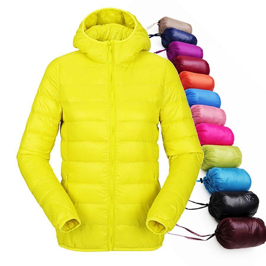 Winter Women Ultra Light Down Jacket Hooded Slim Jackets Warm