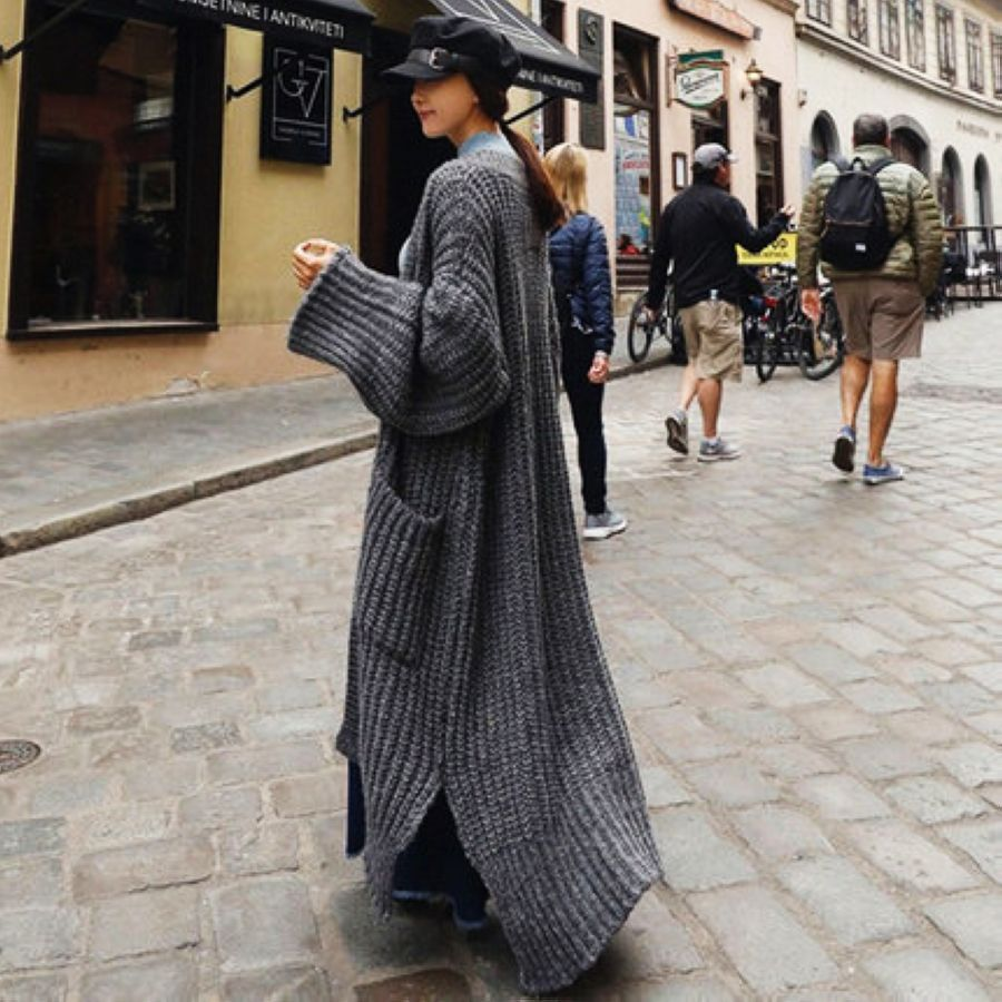 2019 Laid-Back Wind Over Knee Extra Long Thick Woolen Loose