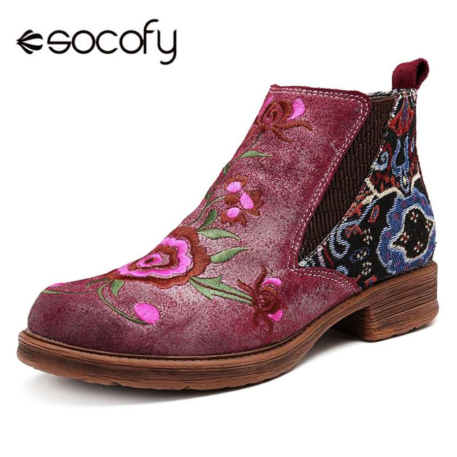 Shoes Socofy Vintage Embroidery Flower Ankle Boots Women Shoes Woman