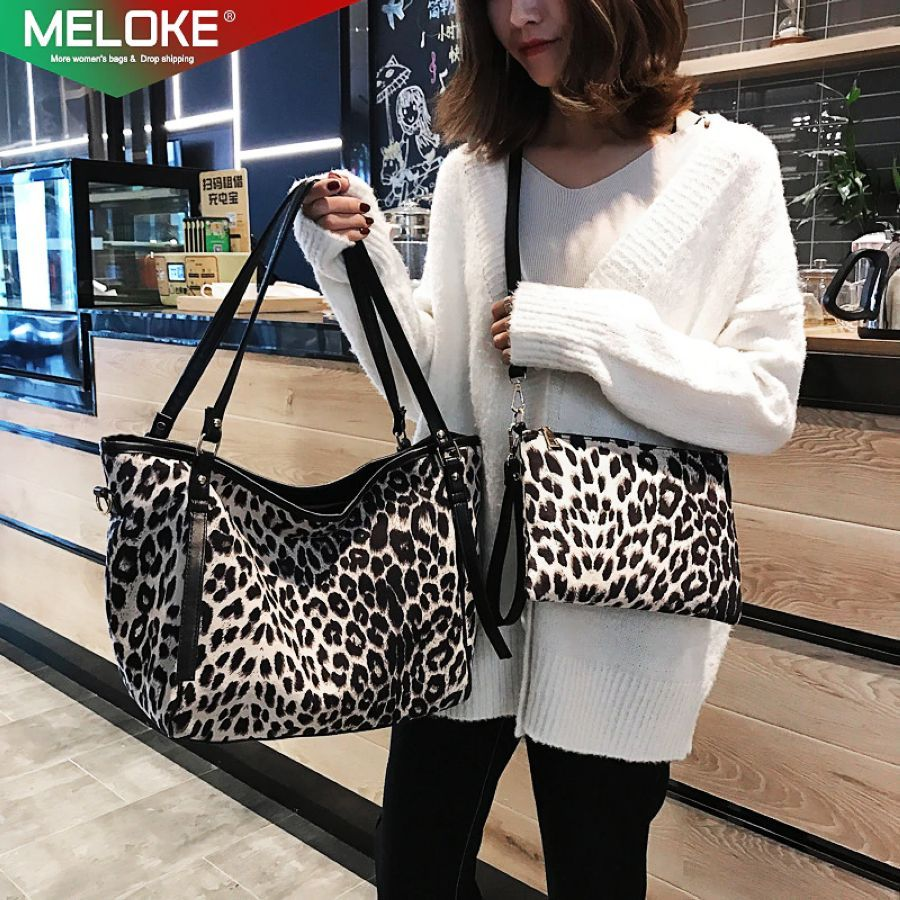2pcs-Set Big Pu Leather Leopard Print Bags Women Large
