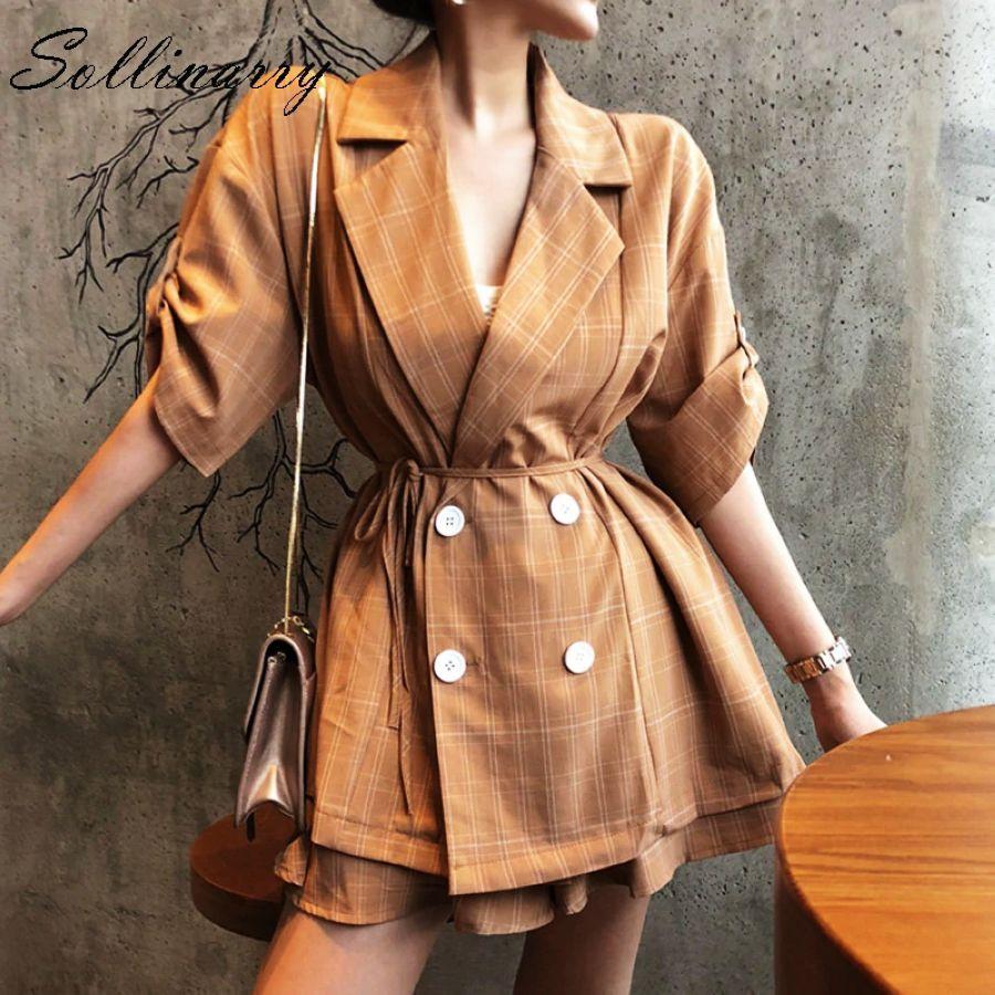 Sollinarry Loose Short Blazer Suits Women Jacket Coat Sets 2019