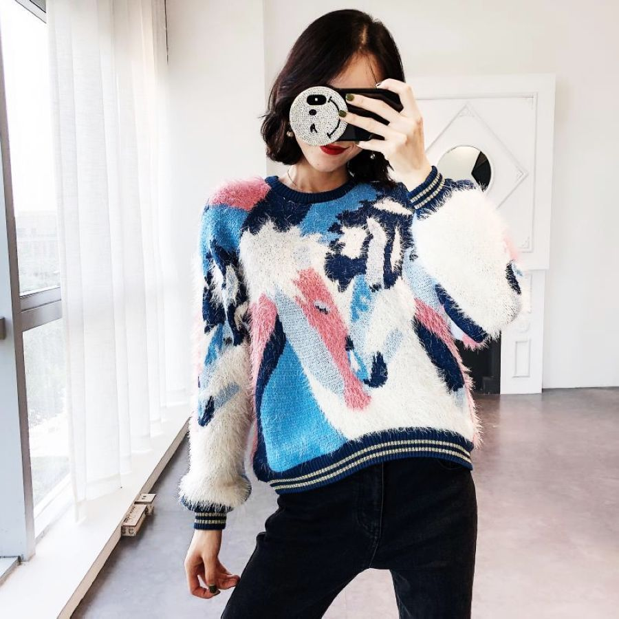 2019 New Three Color Crash Sweater Warm Sleeves Long Sleeved