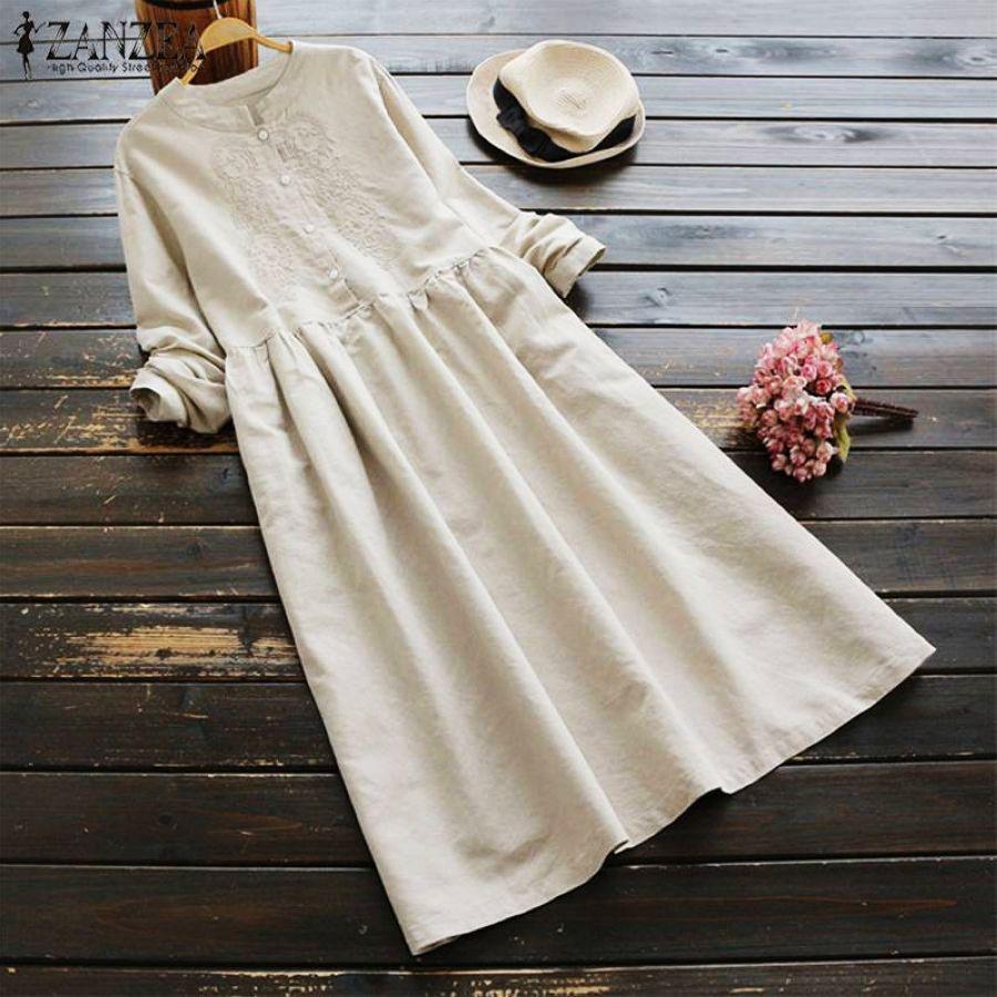 2019 Plus Size Zanzea Autumn Vintage Embroidery Long Shirt Dress