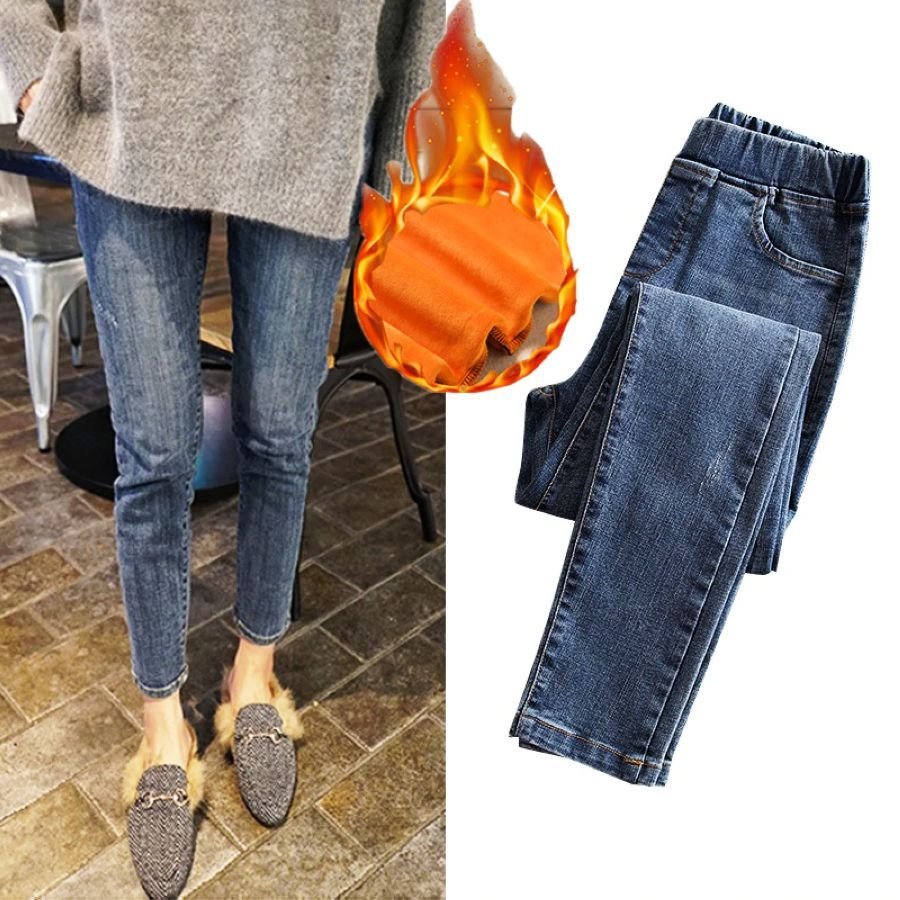 2019 Women Winter Jeans Thick Warm High Waist Jeans Large