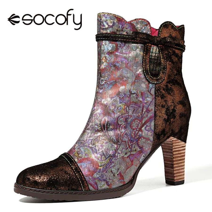 Shoes Socofy Retro Printed Genuine Leather Splicing Ankle Boots Women