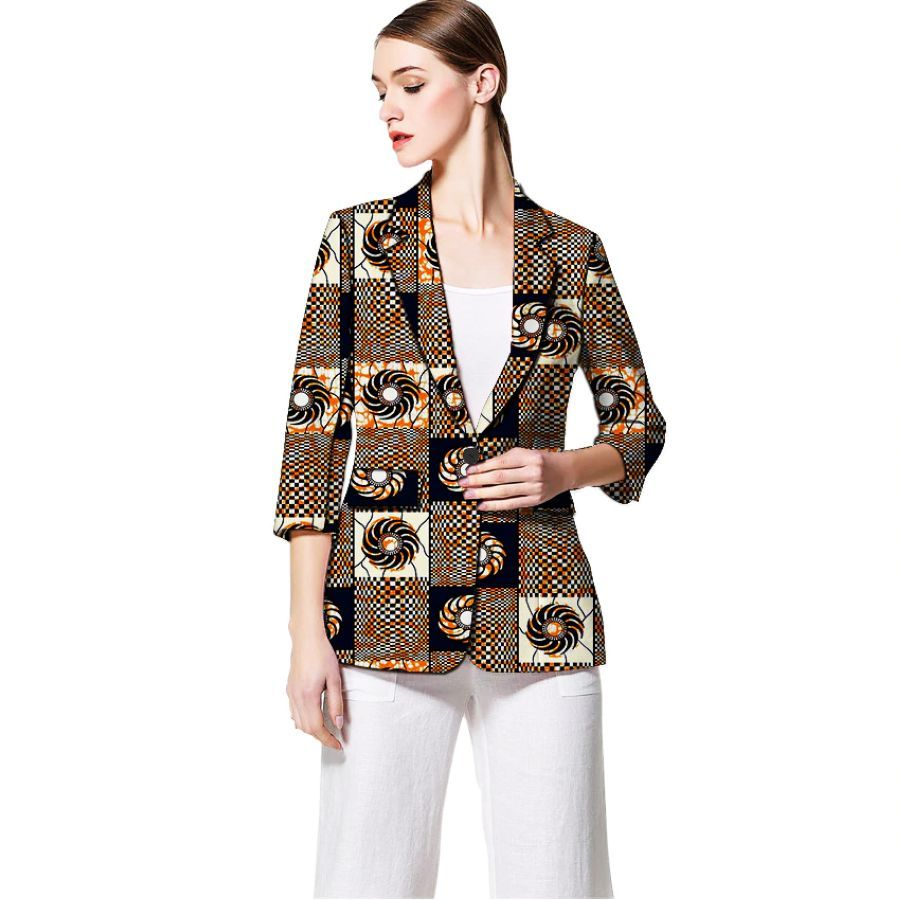 African Print Women Blazers Three Quarter Sleeve Suit Jacket Custom