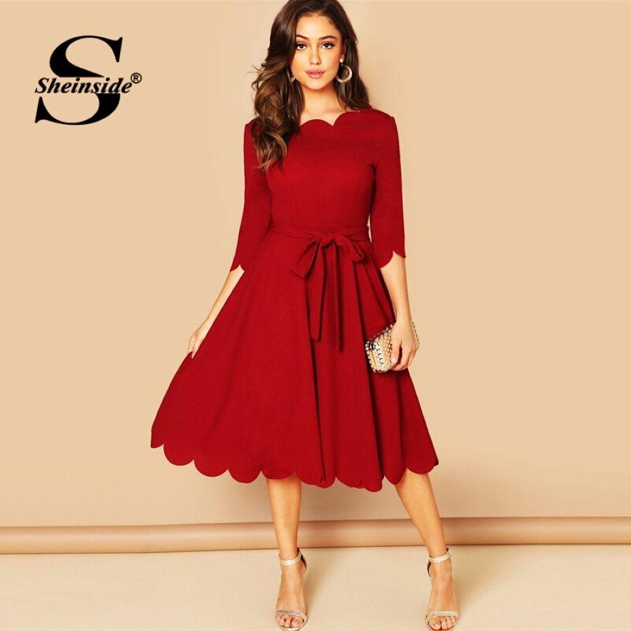 Elegant Scallop Edge Bodycon Dress Women Burgundy 34 Sleeve Solid