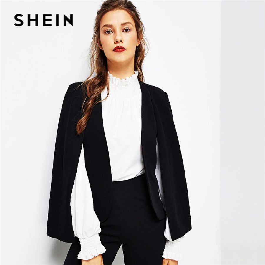 Black Poncho Office Lady Streetwear Cloak Open Front Blazer 2018